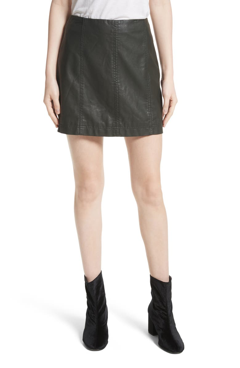 FREE PEOPLE Modern Femme Faux Leather Miniskirt, Main, color, 300