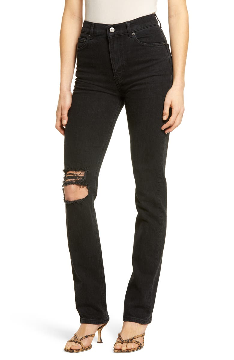 REFORMATION Liza High Waist Straight Leg Jeans, Main, color, FADED BLACK DESTROYED