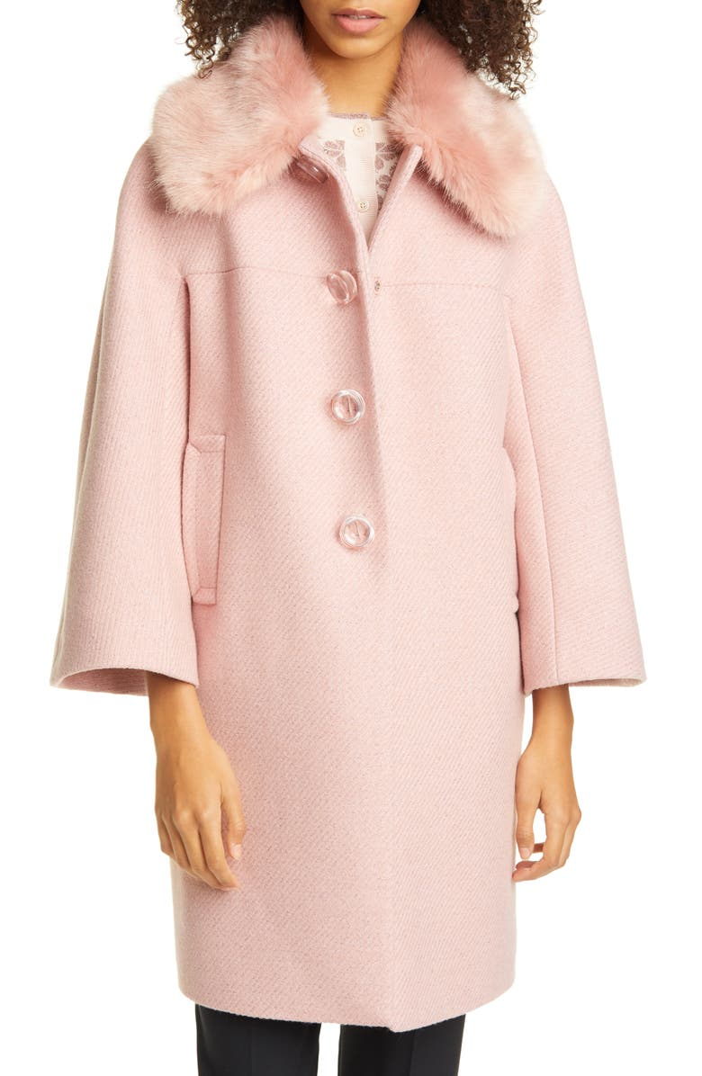 KATE SPADE NEW YORK metallic wool blend twill coat with detachable faux fur collar, Main, color, 650
