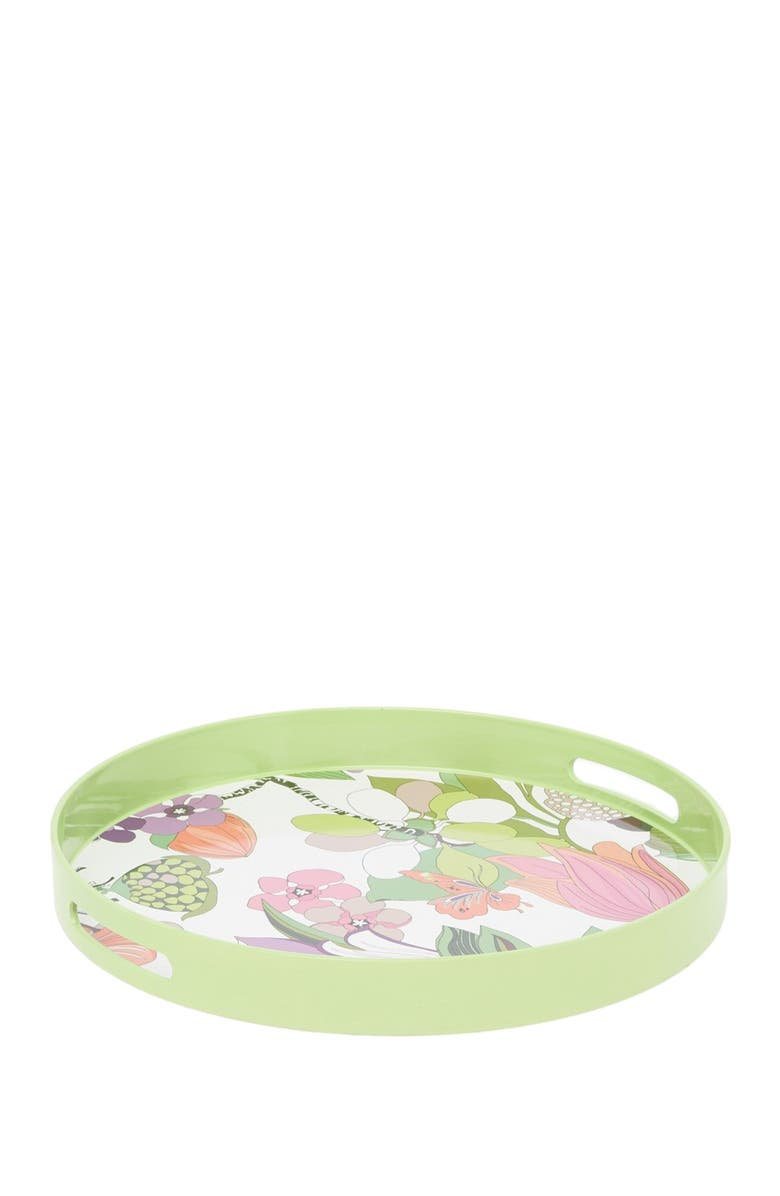 TRINA TURK Green Spring Floral Round Tray, Main, color, MULTI