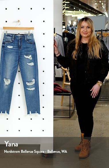Ripped High Waist Ankle Straight Leg Jeans, sales video thumbnail