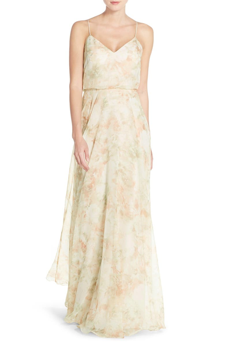 JENNY YOO Inesse V-Neck Chiffon Gown, Main, color, 690