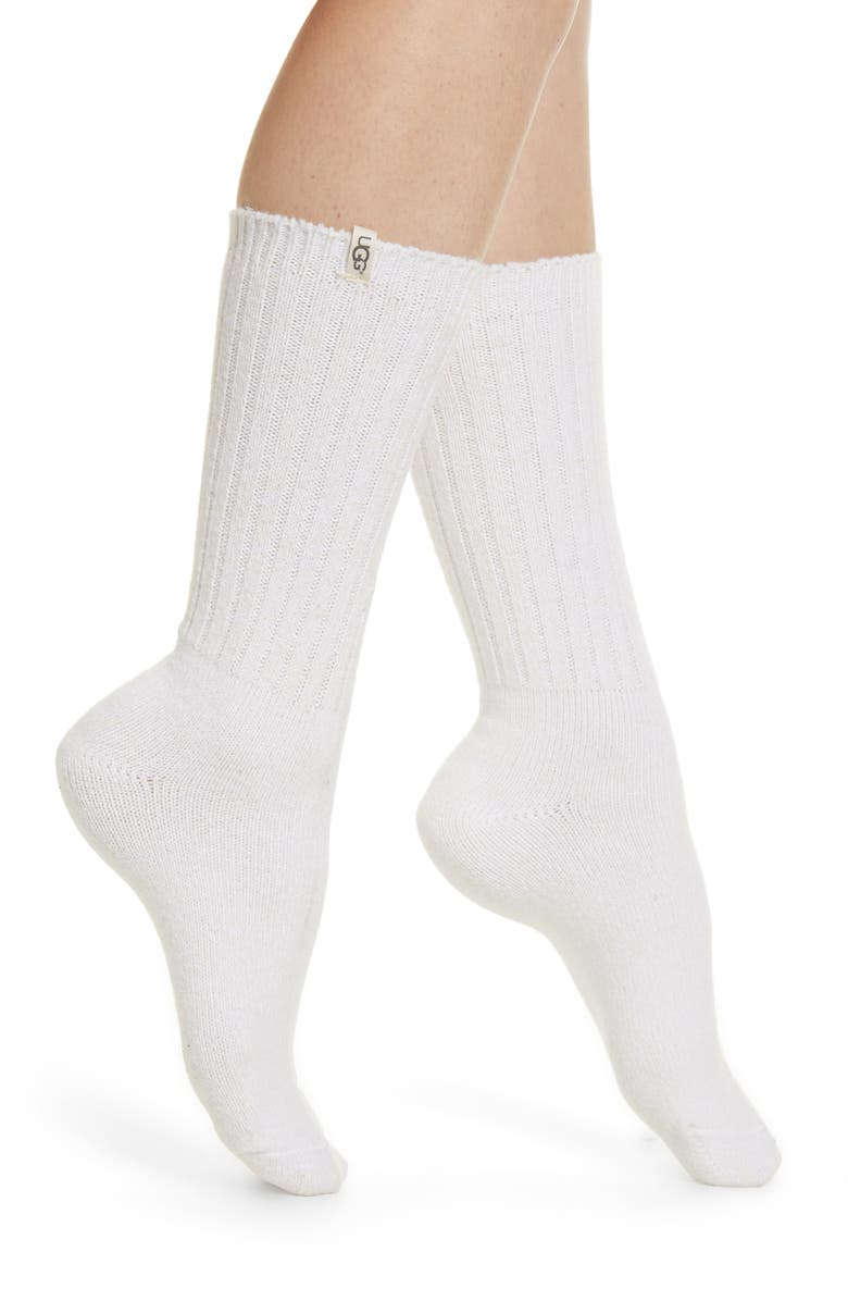 UGG<SUP>®</SUP> Ribbed Crew Socks, Main, color, WHITE