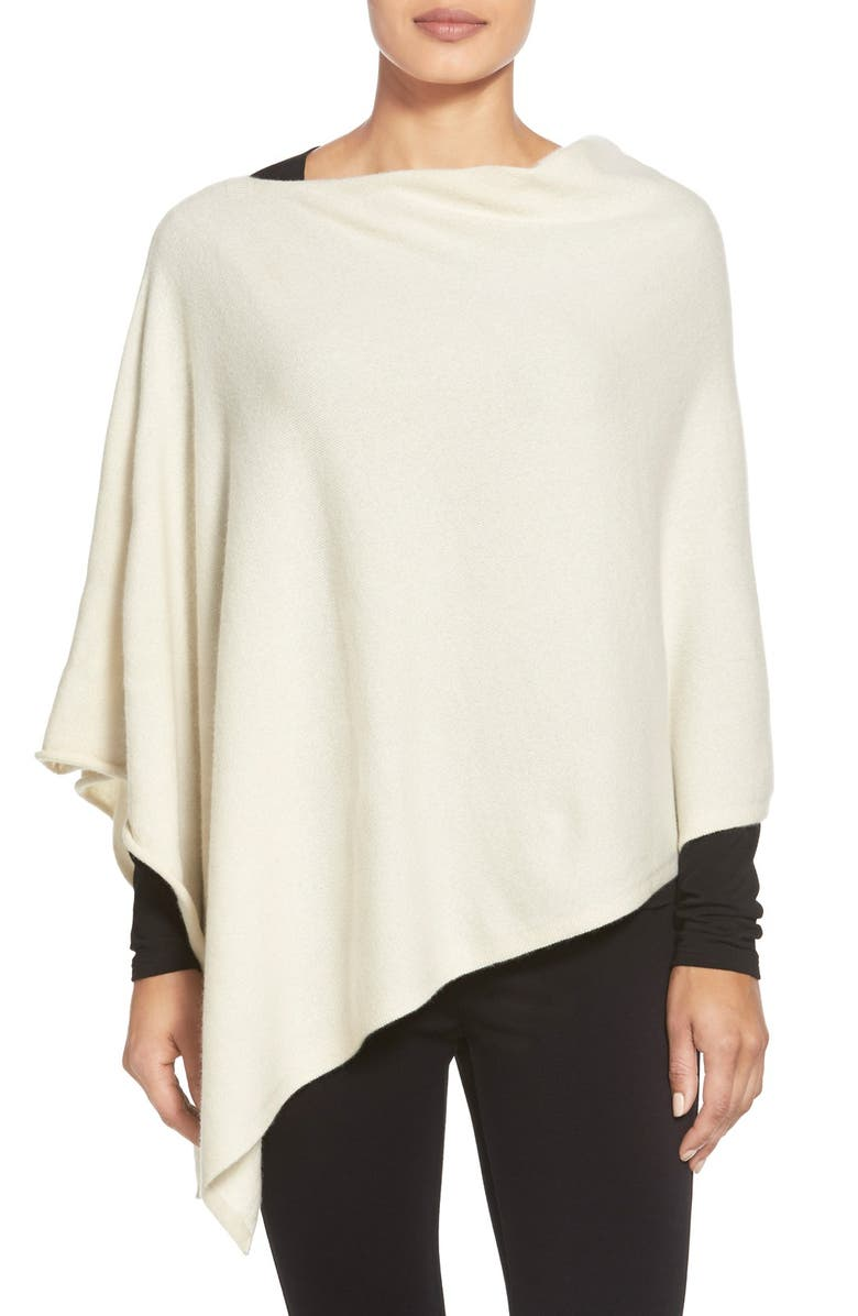 EILEEN FISHER Cashmere Poncho, Main, color, SOFT WHITE