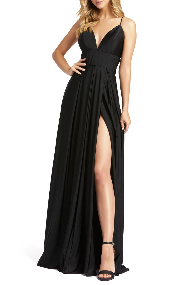 MAC DUGGAL Plunge Neck Pleated Gown, Main, color, 001