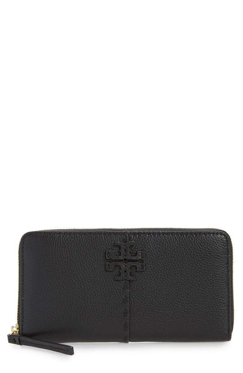 TORY BURCH McGraw Leather Continental Zip Wallet, Main, color, BLACK