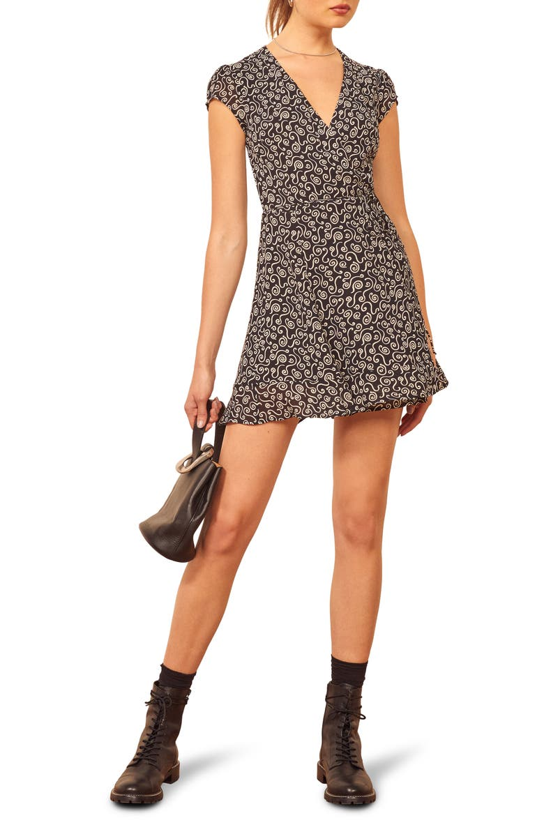 REFORMATION Radley Wrap Minidress, Main, color, 001