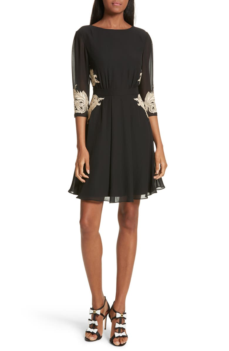 TED BAKER LONDON Gaenor Embroidered Fit & Flare Dress, Main, color, Black