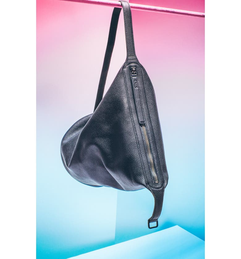KARA 'Dry' Convertible Pebbled Leather Bucket Bag, Extra Large, Main, color, 001