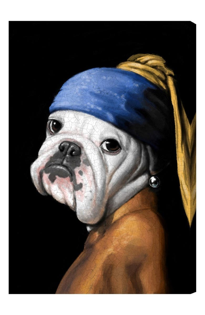OLIVER GAL Dog with the Pearl Earring Canvas Wall Art, Main, color, BLACK WHITE BLUE