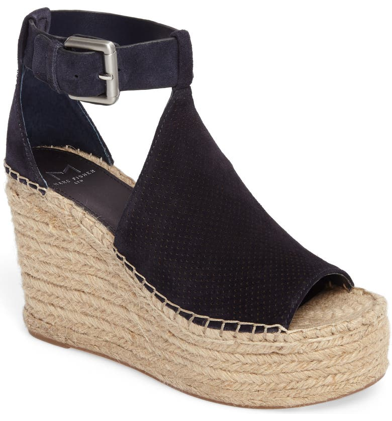 MARC FISHER LTD Annie Perforated Espadrille Platform Wedge, Main, color, 435