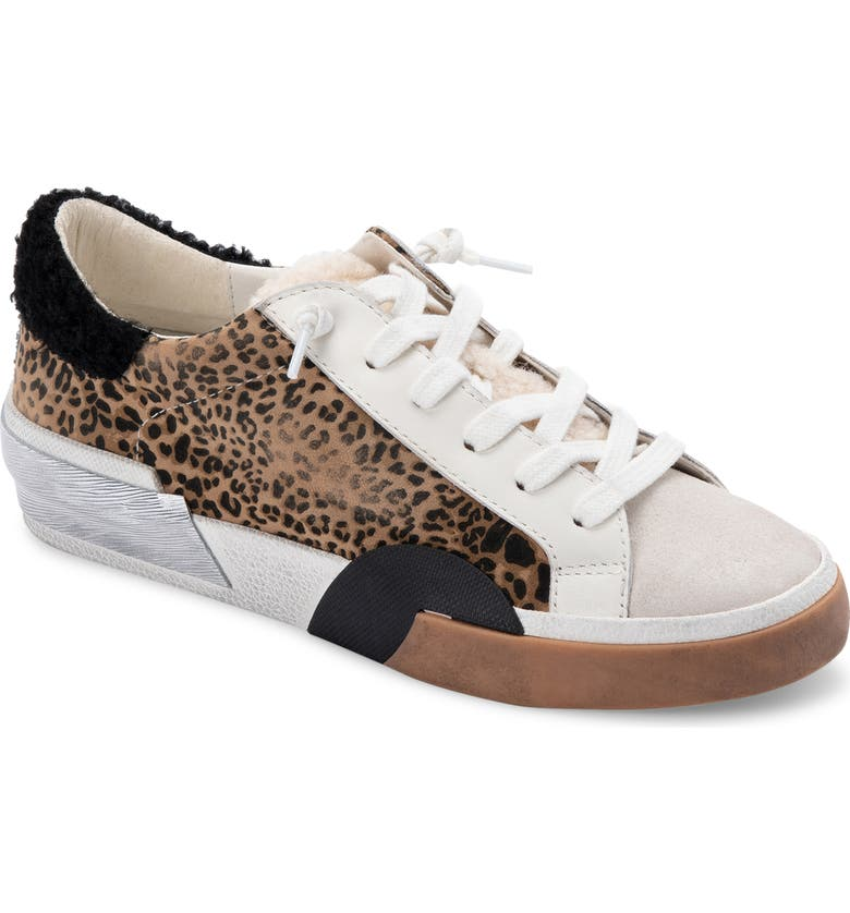 DOLCE VITA Zina Plush Sneaker, Main, color, TAN/ BLACK DUSTED LEOPARD