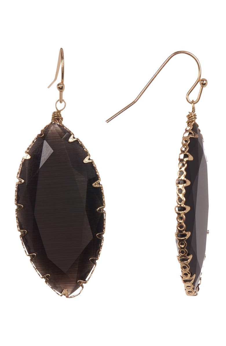 14TH AND UNION Wire Wrapped Stone Earrings, Main, color, BLACK/ GOLD