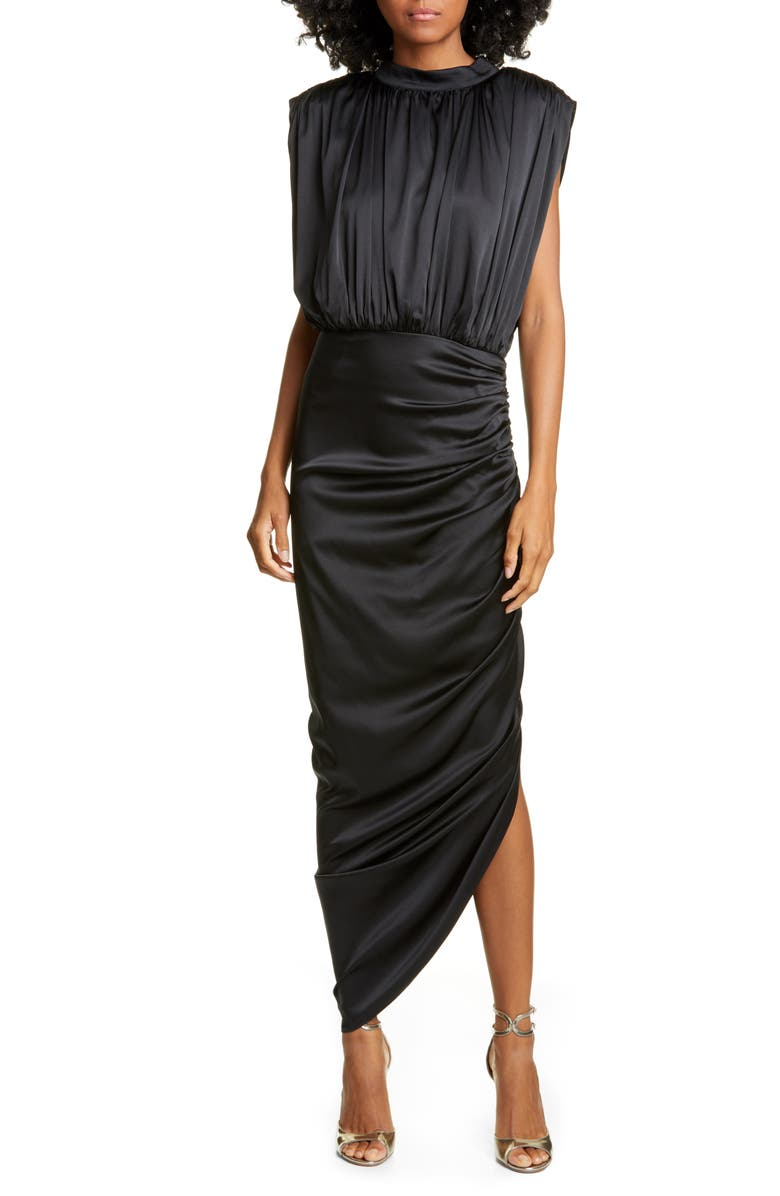 VERONICA BEARD Kendall Ruched Stretch Silk Satin Dress, Main, color, 001