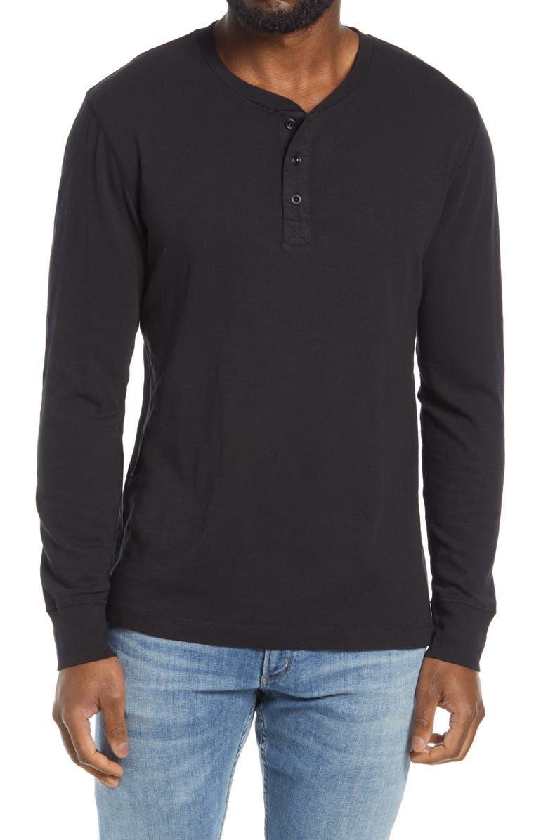 FRENCH CONNECTION Long Sleeve Slub Henley, Main, color, 002