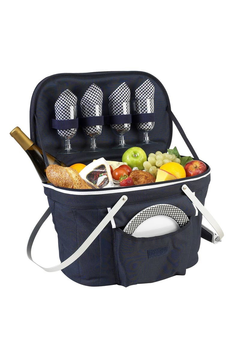 PICNIC AT ASCOT Soft Picnic Basket for Four, Main, color, NAVY