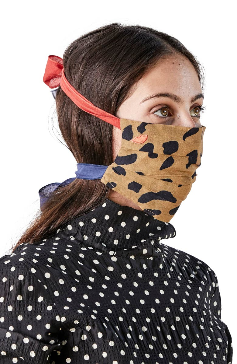 CLARE V. Bowie Adult Print Pleated Tie Strap Cotton Face Mask, Main, color, 250