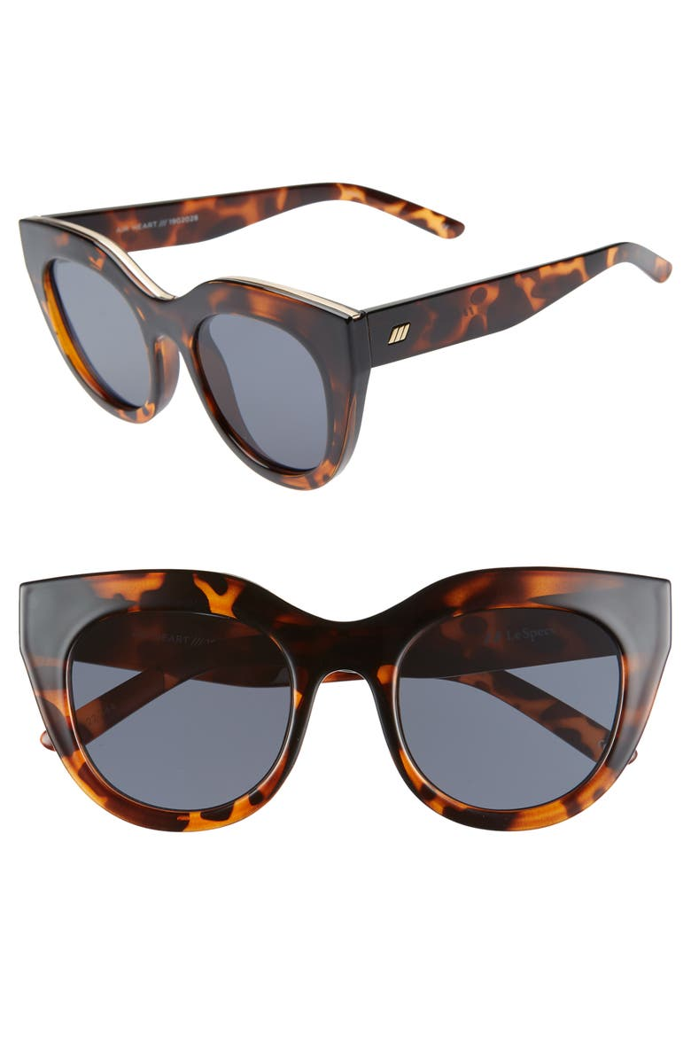 LE SPECS Air Heart 51mm Sunglasses, Main, color, TORTOISE/ SMOKE