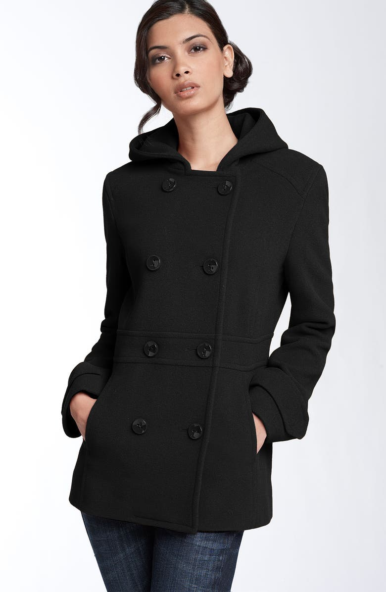 KENNETH COLE NEW YORK Hooded Peacoat, Main, color, 001