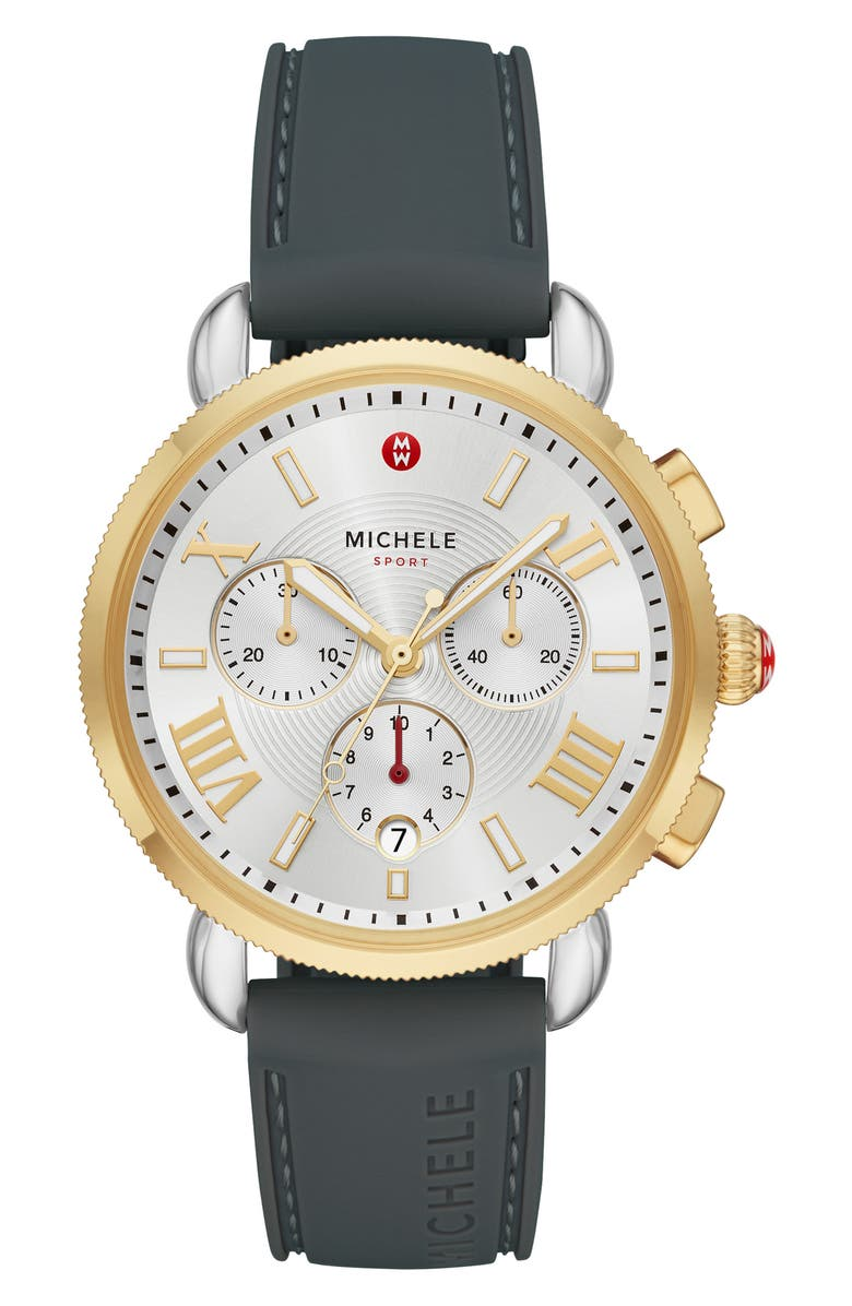 MICHELE Sport Sail Chronograph Watch Head with Silicone Strap, 38mm, Main, color, GREY/SILVER WHT SUNRAY/GLD