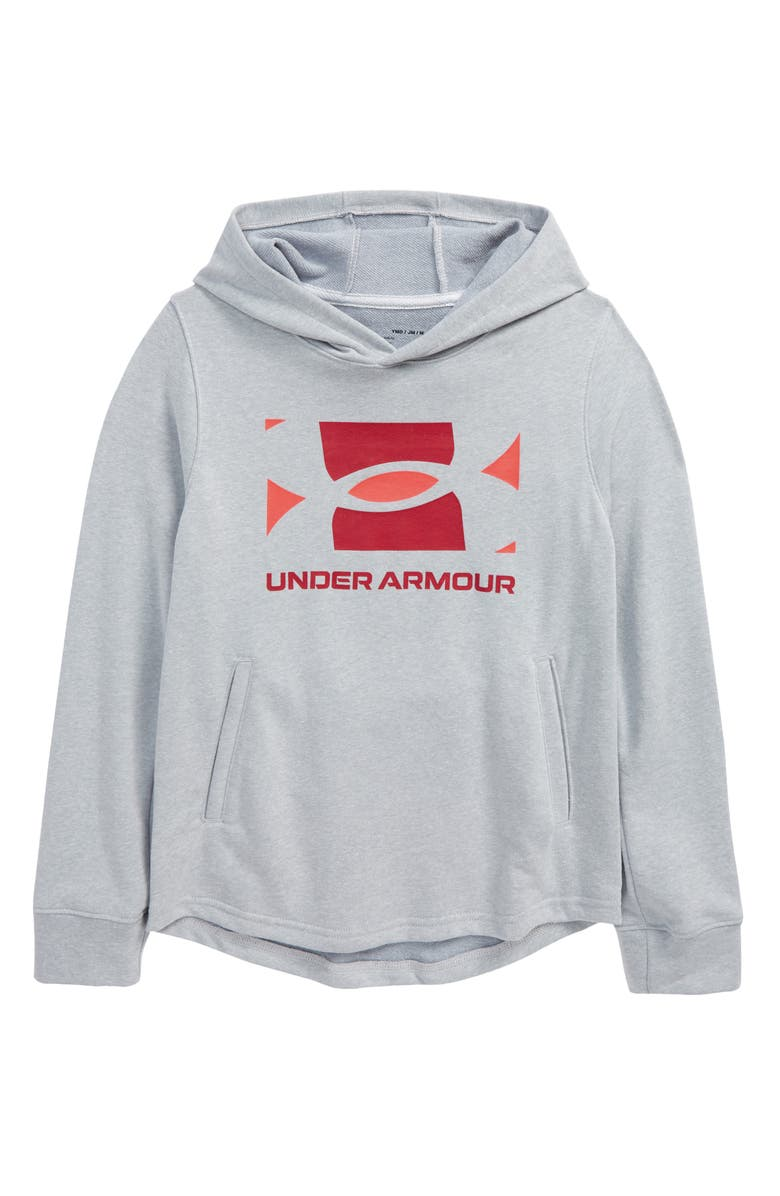 UNDER ARMOUR Kids' UA Rival Theory French Terry Hoodie, Main, color, MOD GRAY LIGHT HEATHER / BETA