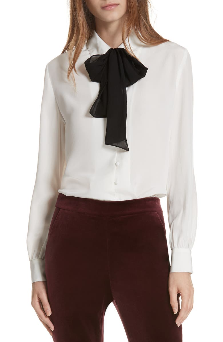 FRAME Tie Neck Silk Blouse, Main, color, OFF WHITE