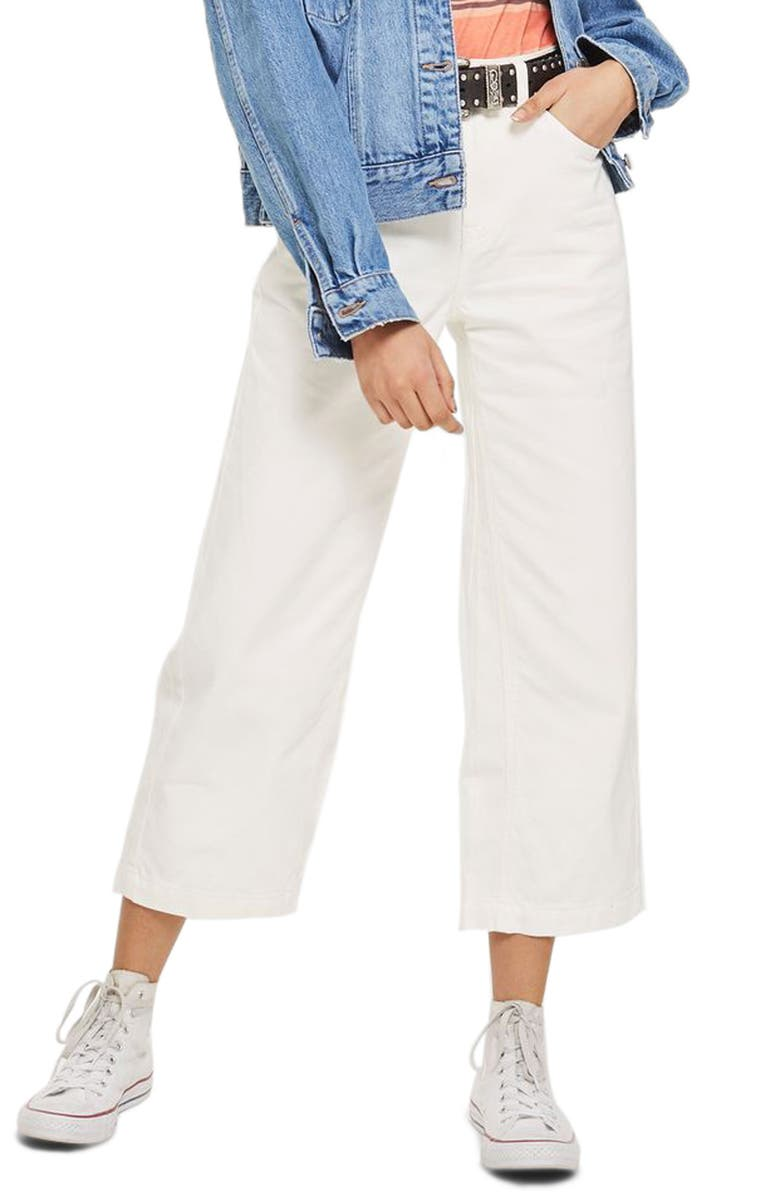 TOPSHOP MOTO Cropped Wide Leg Non-Stretch Jeans, Main, color, 100