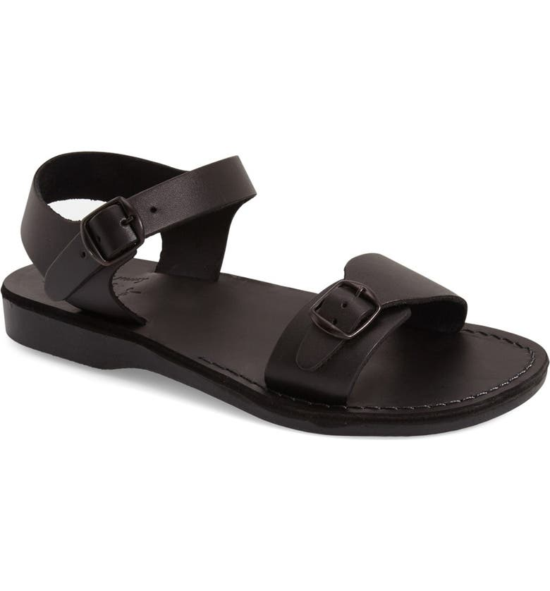 JERUSALEM SANDALS 'The Original' Sandal, Main, color, BLACK LEATHER