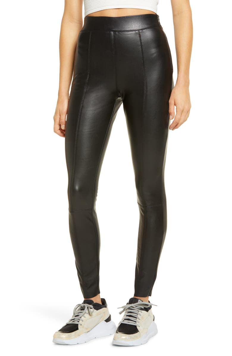 TOPSHOP Sara Faux Leather Skinny Pants, Main, color, BLACK