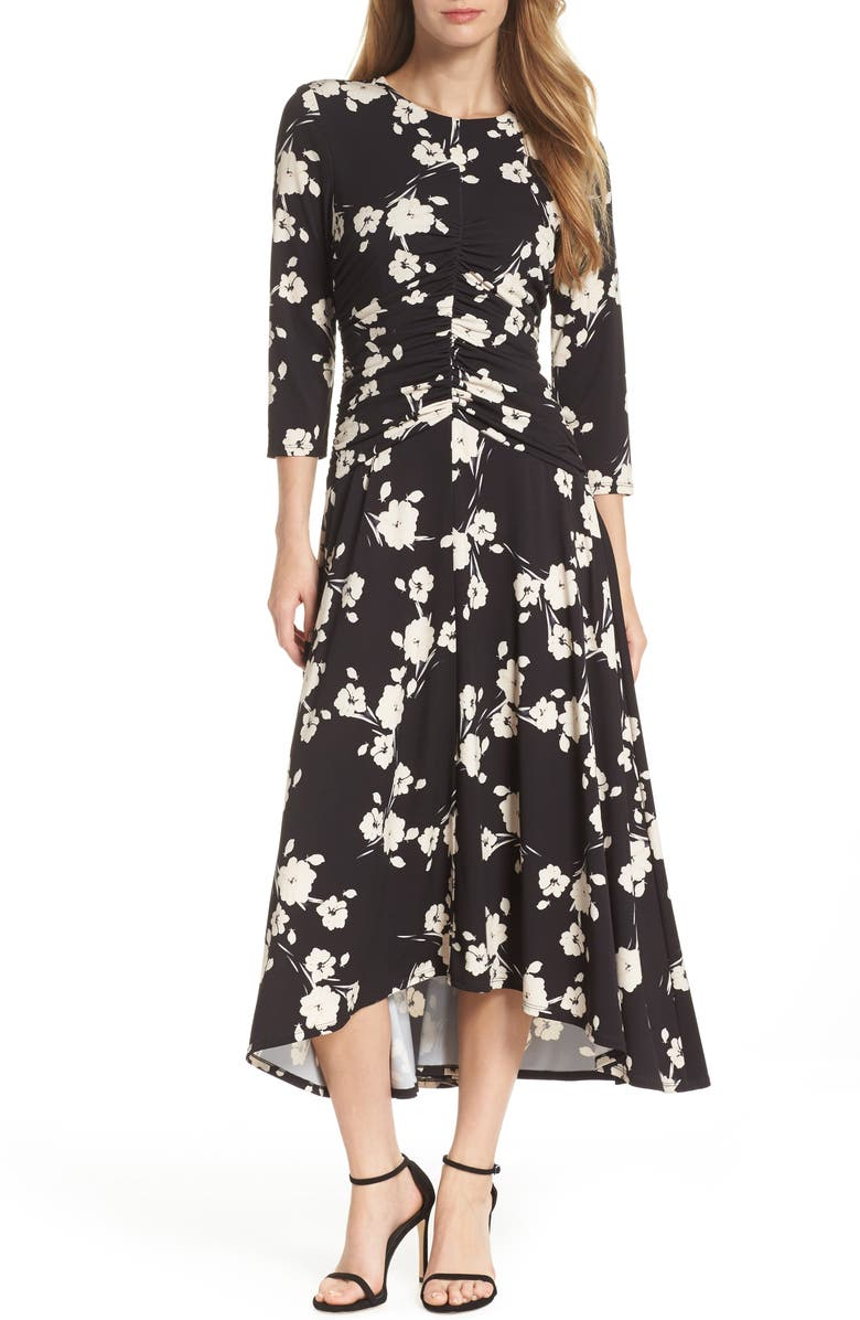 MAGGY LONDON Ruched Waist Midi Dress, Main, color, 001