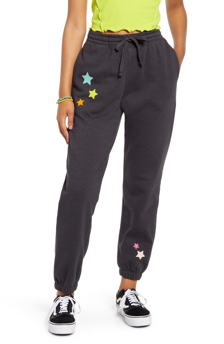 BP. Be Proud By BP. Gender Inclusive Organic Cotton Blend Joggers, Main, color, GREY CHARCOAL PLACED STARS