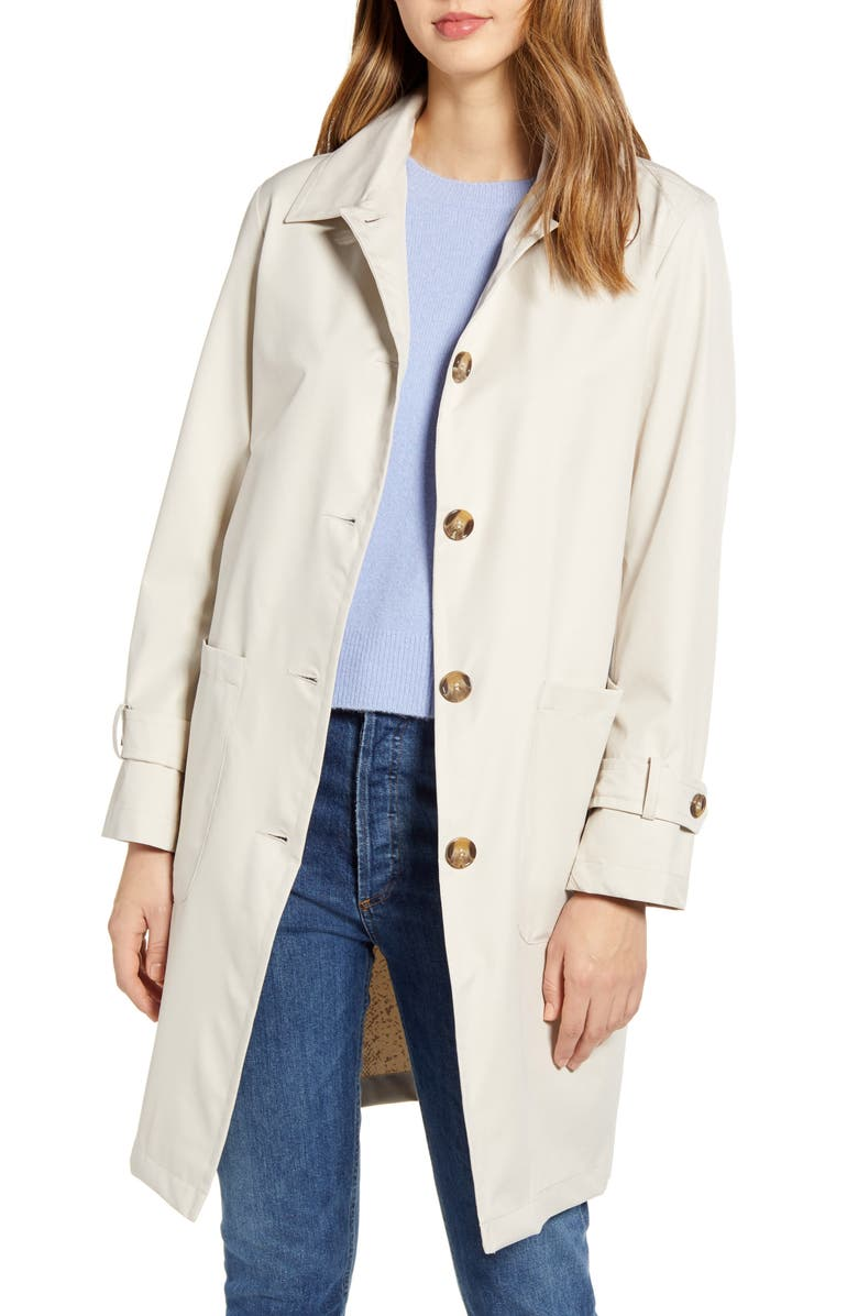 BERNARDO Single Breasted Raincoat, Main, color, BEIGE