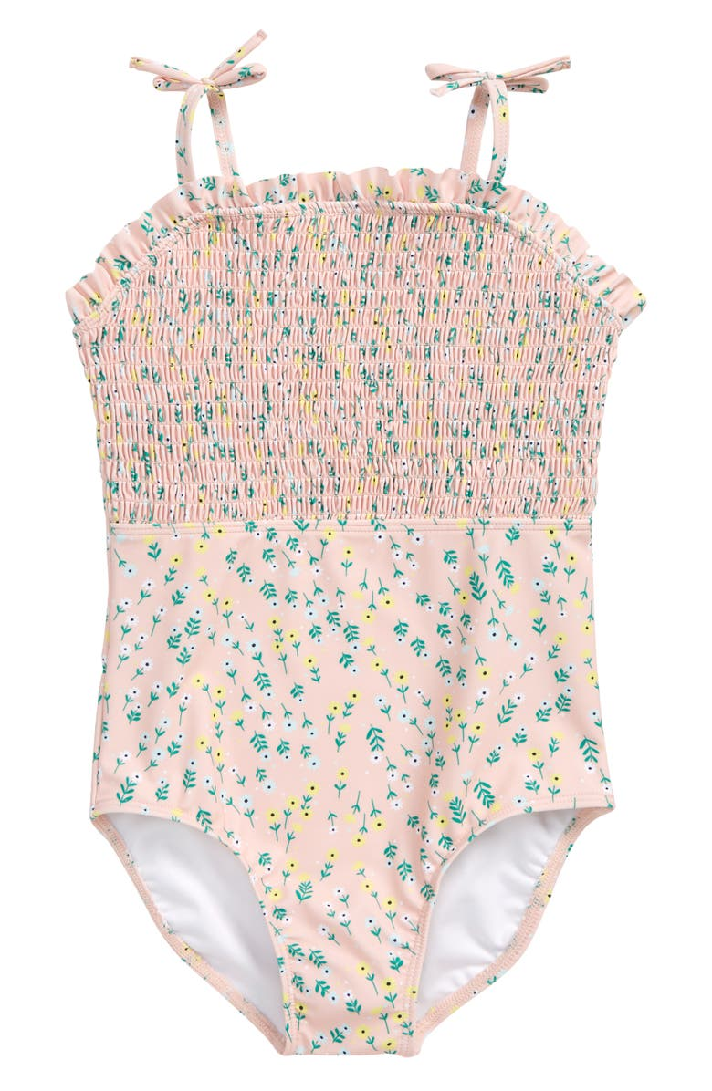 TUCKER + TATE Smocked One-Piece Swimsuit, Main, color, PINK SEASHELL FLORAL TOSS