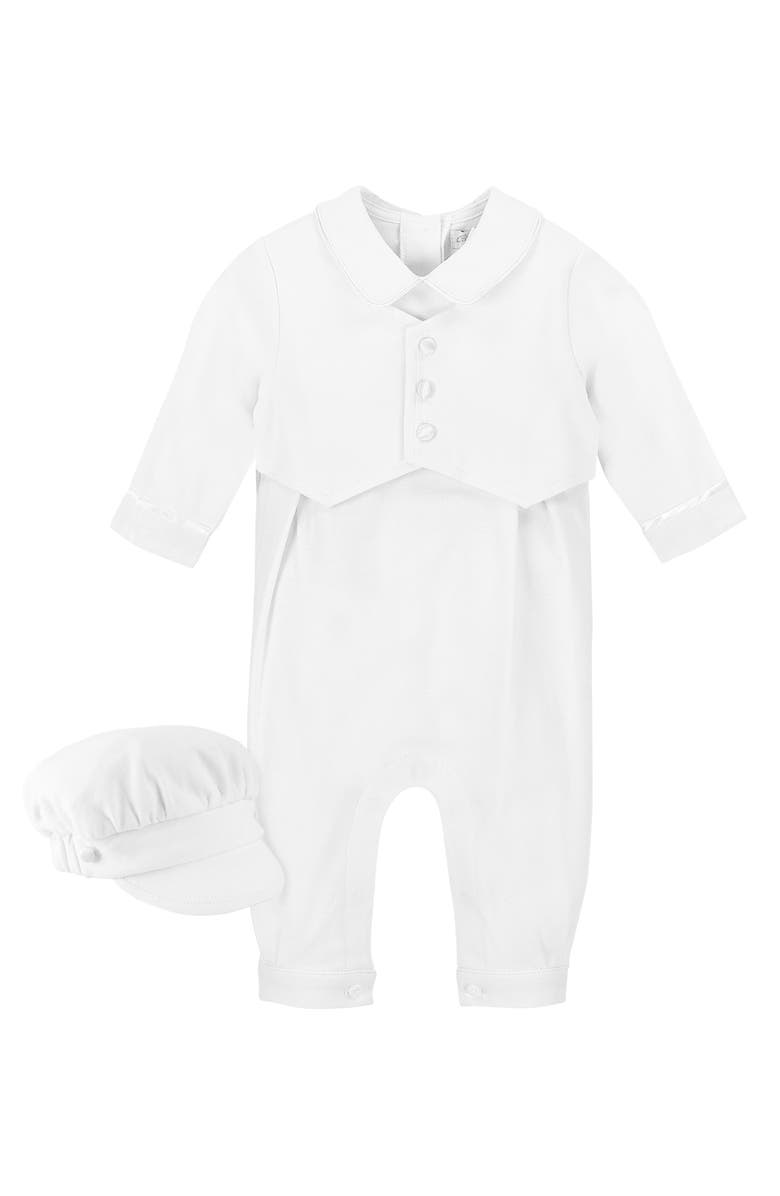 CARRIAGE BOUTIQUE Elegant Christening Romper & Newsboy Cap Set, Main, color, WHITE