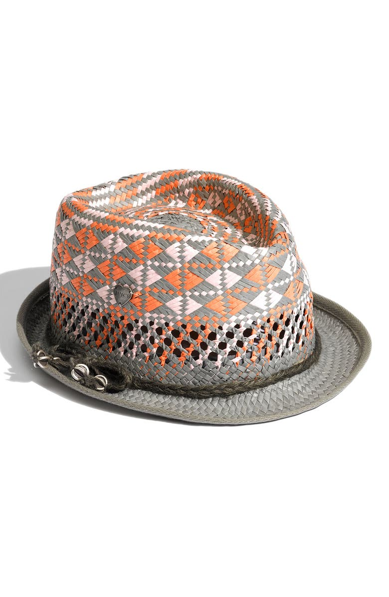 JUICY COUTURE Metal Charm Woven Straw Fedora, Main, color, 020