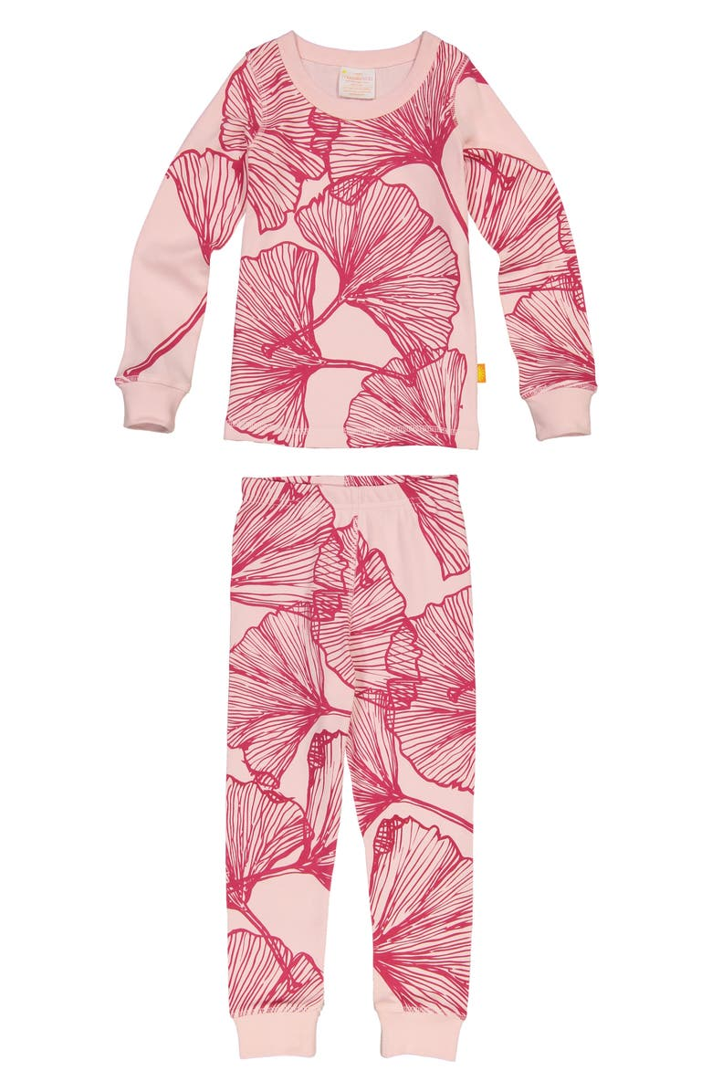 MASALA BABY Ginkgo Print Organic Cotton Fitted Two-Piece Pajamas, Main, color, 664