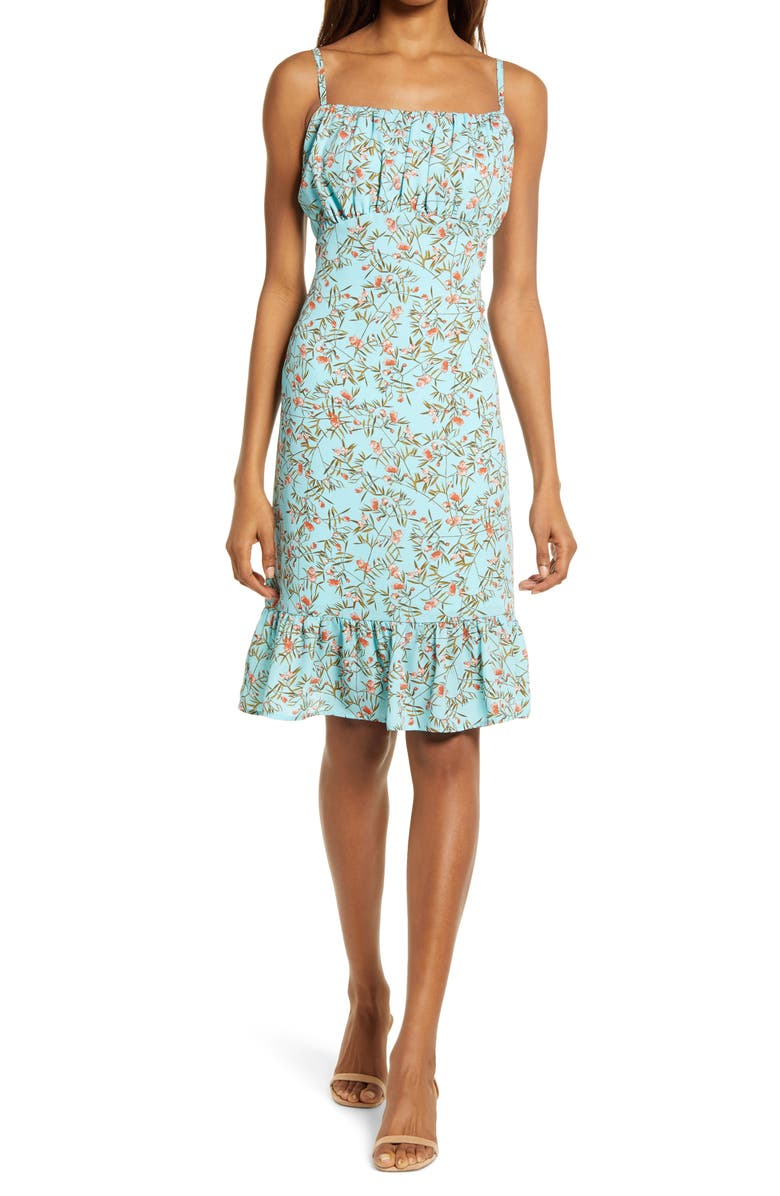 CHELSEA28 Sleeveless Gathered Ruffle Dress, Main, color, TURQUOISE CORAL FLORAL