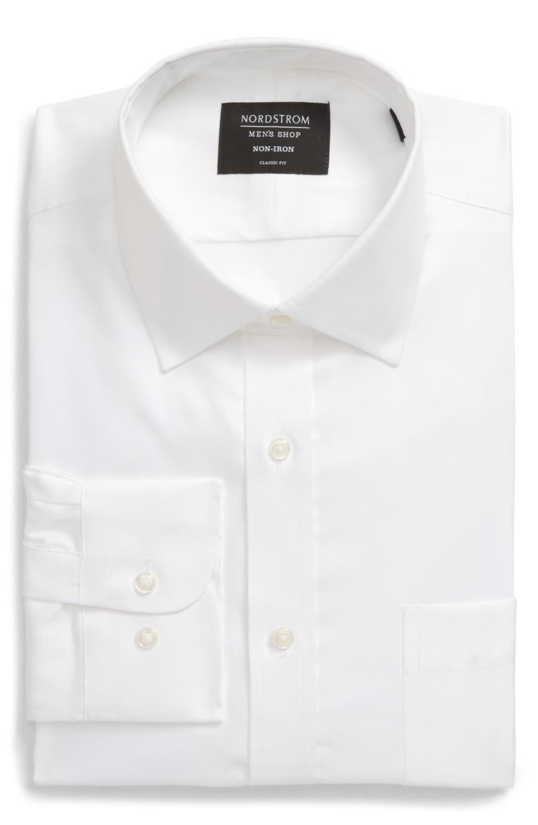 NORDSTROM Classic Fit Non-Iron Solid Dress Shirt, Main, color, WHITE BRILLIANT
