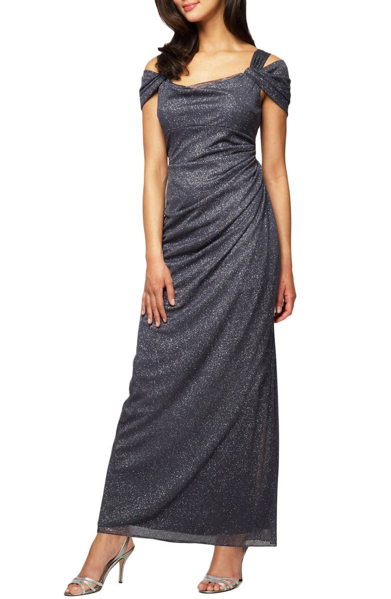 ALEX EVENINGS Cold Shoulder Ruffle Glitter Gown, Main, color, SMOKE