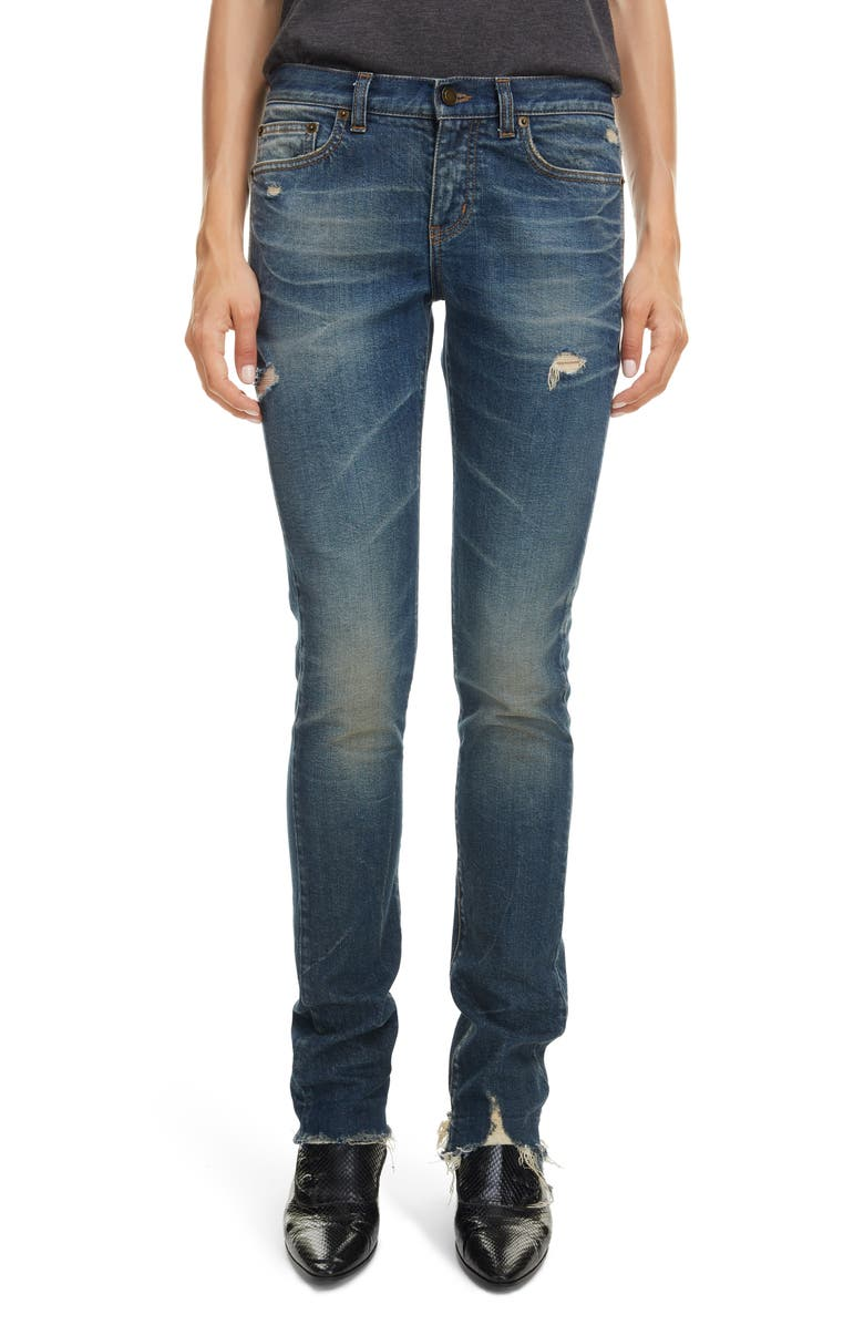 SAINT LAURENT Distressed Skinny Jeans, Main, color, 400