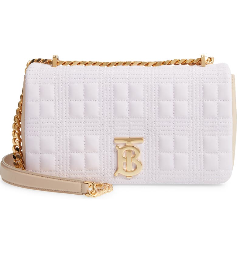 BURBERRY Small Lola Quilted Two-Tone Lambskin Bag, Main, color, 500
