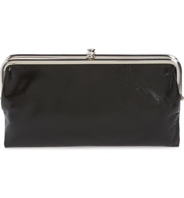 HOBO 'Lauren' Leather Double Frame Clutch, Main, color, BLACK