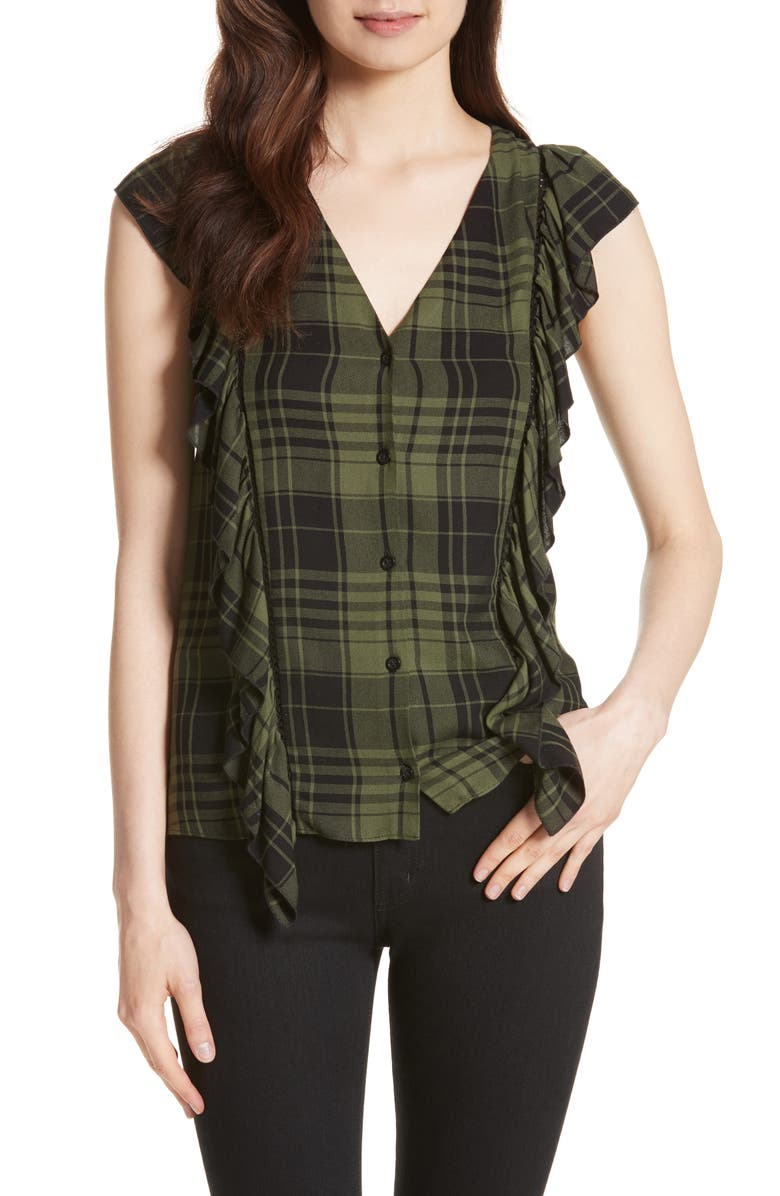 ALICE + OLIVIA Janet Side Ruffle Blouse, Main, color, 315