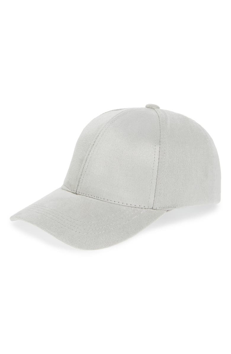 PHASE 3 Faux Suede Baseball Cap, Main, color, GREY MICRO