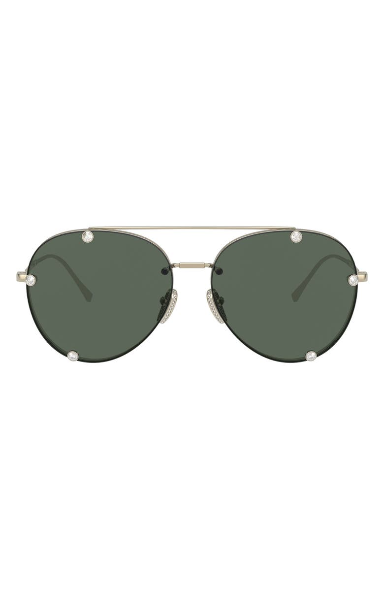 VALENTINO 59mm Aviator Sunglasses, Main, color, PALE GOLD/ GREEN