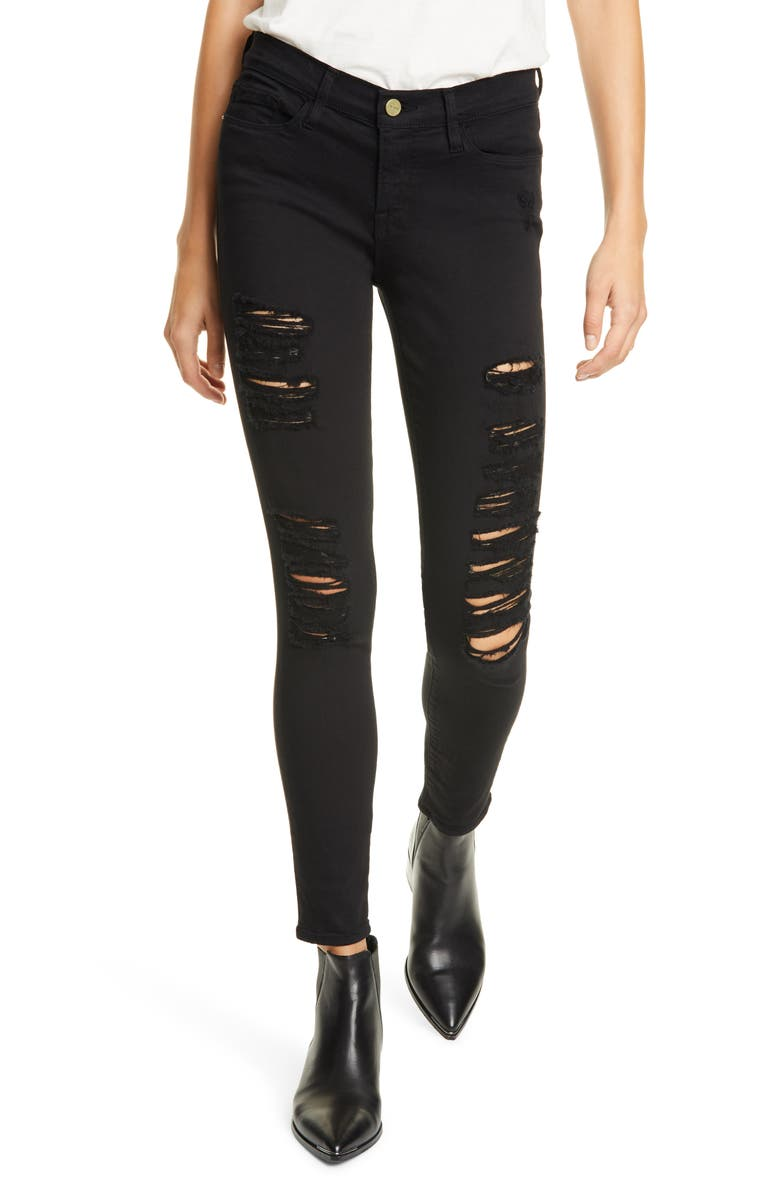 FRAME Le Color Ripped Skinny Jeans, Main, color, FILM NOIR