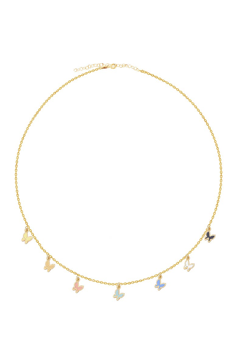 SPHERA MILANO Gold Vermeil Butterfly Station Necklace, Main, color, GOLD