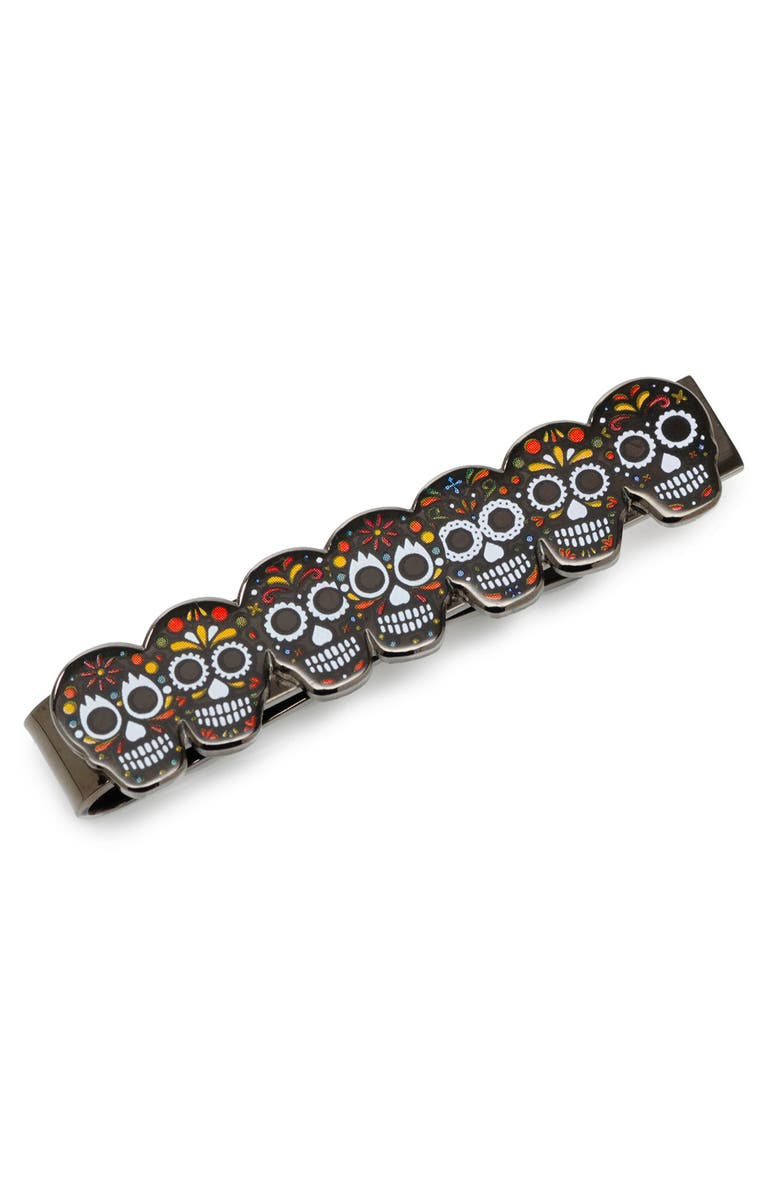 CUFFLINKS, INC. Day of the Dead Tie Clip, Main, color, BLACK