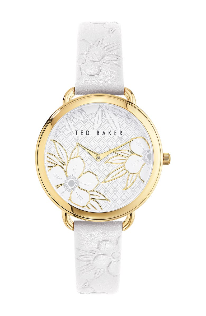 TED BAKER LONDON Women's Hettie Floral Leather Strap Watch, 37mm, Main, color, GOLD/ WHITE/ WHITE