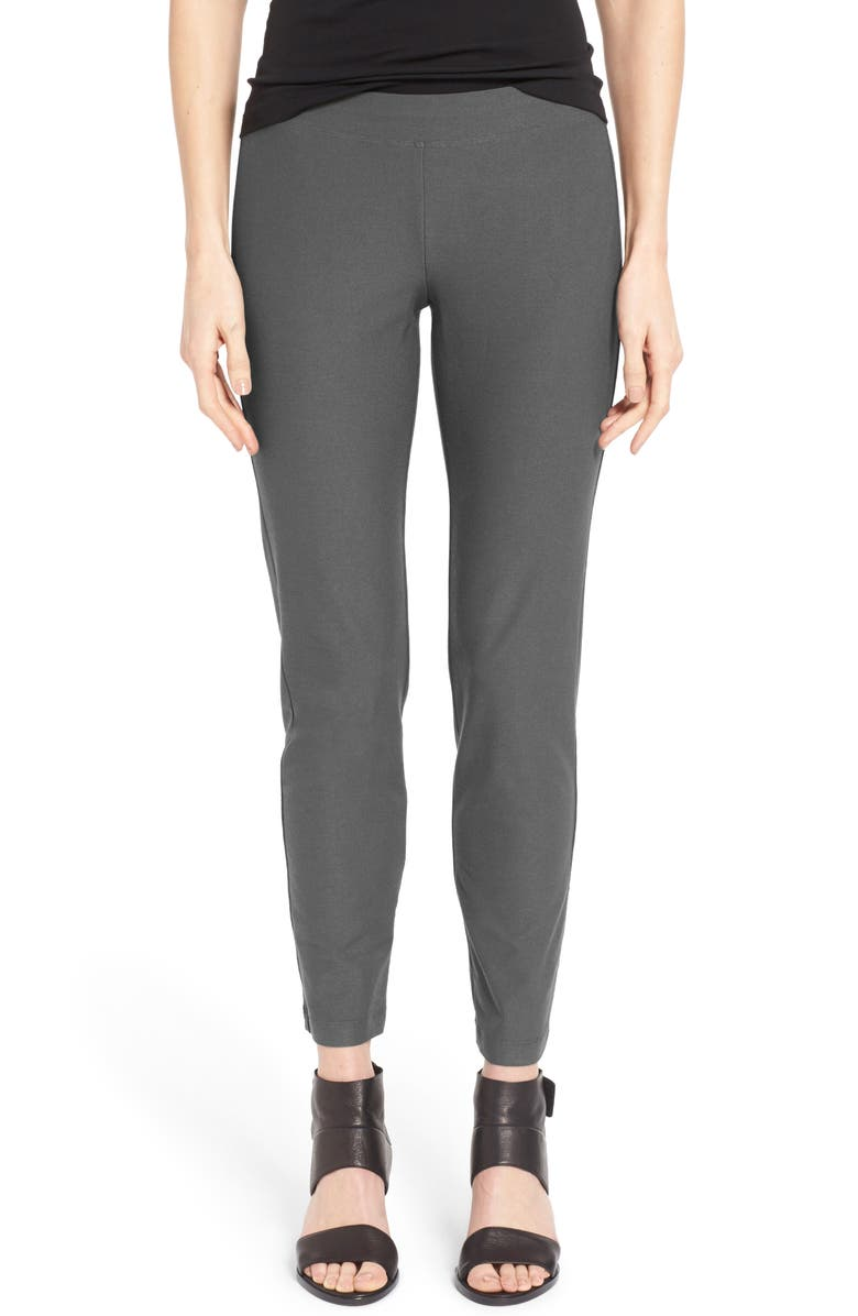 EILEEN FISHER Stretch Crepe Slim Ankle Pants, Main, color, 020